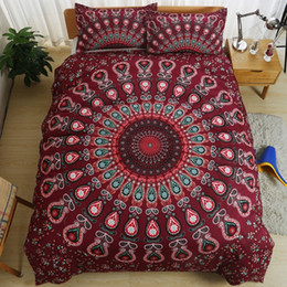 Wholesale Aqua Print Comforter - Bohemian Style Luxury Mandala Bedding Set Twin Queen King Size Boho Comforter Duvet Quilt Cover and Pillowcase Soft Bedclothes
