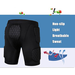 Wholesale armor knee pads - Wholesale- Basketball honeycomb protective shorts anti-collision protective clothing tights knee-length pants armor chest padded protector