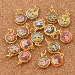 Wholesale Girls Russian - Enamel Russian Dolls Girl Face Charm Beads 150pcs lot 11.5X14mm Antique Gold Pendants Jewelry DIY T1566