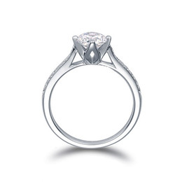 Wholesale Three Heart Rings Women - US GIA certificate 18K white gold 1 ct moissanite engagement rings for women,hearts and arrows,wedding diamond rings for women