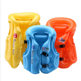 Wholesale Inflatable Underarm Ring - Life jacket inflatable underarm swimsuit children inflatable vest swim ring solid color swimming floating life vest buoy
