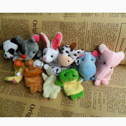 Wholesale finger puppets prop - Baby Plush Toy Finger Puppets Talking Props 10 animal group baby staffed velvet fabric hand toy