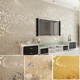 Wholesale Gold Wallpapers - High-End 10M Popular wallpaper victorian design Luxury Embossed Pattern Textured Wallpaper Rolls ,Silver,Gold 4 Colors