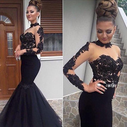 Wholesale Black Lace Applique Evening Dress - Stylish High Neck Prom Dresses Sexy See Through Tulle Mermaid Long Prom Party Dress Glamorous Appliques Long Sleeve Zipper Evening Dress