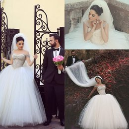 Wholesale Romantic Ball Gown Wedding Dresses - 2017 Romantic Ball Gown Wedding Dresses Sexy Off the Shoulder Crystals Arabic Brides Gowns Beads Vestidos De Noiva Plus Size Said Mhamad