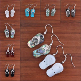 Wholesale Earrings Shells - Wholesale 10 Pair Charm Natural White Black Colorful Abalone shell slippers shape Dangle Hook Earring Women Eardrop Jewelry