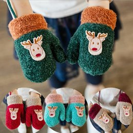 Wholesale Yellow Mittens - 6 colors Hot selling Christmas new styles baby boy girl Plush material elk children Keep warm Children's Mittens free shipping