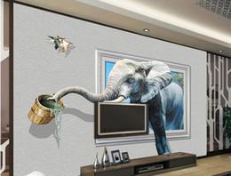 Papel de parede tijolo dimensional on-line-papel de parede parede de tijolos 3D elefante tridimensional murais paredes paredes papel de parede