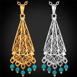 Wholesale Turquoise Tassel Necklace Jewelry - Bohemian Tassel Turquoise Pendant Necklace 18K Real Gold Platinum Plated New Summer Jewelry Gift For Women P1157