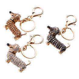 Wholesale Dachshund Pendant - 3 Styles Crystal Dog Dachshund Keychain Pom Bag Charm Pendant Keys Holder Key Ring Jewelry Women Girl Key Chain Gift D293L