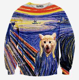 Al por mayor- [Andy] modelo caliente! Hombres / mujeres nuevas sudaderas diseñadas divertidos animales de impresión gato coloridas camisetas de rayas 3d otoño tops desde fabricantes
