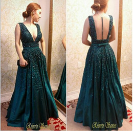 Wholesale Emerald Green Ribbon - Vintage Emerald Green Satin Evening Dresses V neck Sexy Backless A line Appliques Prom Gowns 2016 Custom Made Beaded Hunter Party Gowns
