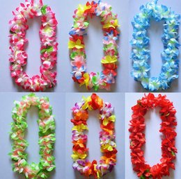 Wholesale Hawaii Wreath - Hawaii flower necklace Silk Flower Wreath Party Supplies Garland Cheerleading Multicolor Hawaii thickening encryption flower lei