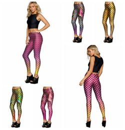 Wholesale Fish Fins - Mermaid Fish Scales Leggings Women Mermaid Slim Tights Jeggings Tail Fins Shiny Fitness Pencil Pants 6 Styles 100pcs OOA3390