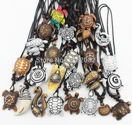Wholesale Wholesale Bone Necklace - MIXED Jewelry Wholesale Lots 25PCS Imitation Yak Bone Carved Lucky Surfing Sea Turtles Pendants Necklace MN386