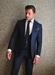 Wholesale Best Branded Black Jackets - Brand New 2016 Groom Tuxedos Navy Blue Groomsmen Peak Lapel Best Man Suit Bridegroom Wedding Prom Dinner Suits (Jacket+Pants+Tie+Vest)