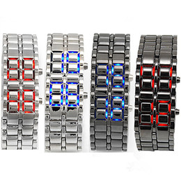 Wholesale Mens Digital Bracelet Watches - Mens Womens Lava Style Iron Samurai LED Metal Watch Electronics Watches Faceless Bracelet Fashion Wristwatch Stainless Steel Wristwatches