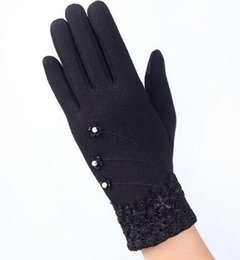 Wholesale Ladies Winter Gloves Purple - Fashion Elegant Womens Touch Screen Gloves Winter Ladies Lace Warm Cashmere Bow Full Finger Mittens Wrist Guantes Gift
