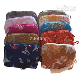 Wholesale Decorative Mini Bags - Fashion Cotton filled Mini Zipper Bags Party Favor Pouch Decorative Tassel Silk Printed Makeup Packaging Cosmetic Case 100pcs lot mix color