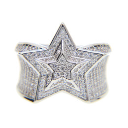 Wholesale High Quality Cz Wedding Rings - 2017 THE HIP HOP KING copper Mens Gold Color Ring Exaggerate Big Rings High Quality Iced Out Crystal Star cz Ring