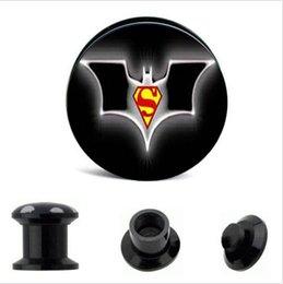Wholesale Batman Tunnels - crylic superma batman Logo Ear Gauge Plug And Tunnel Ear Stretcher Expander 4-16mm Double Flared Screw Fit Plug