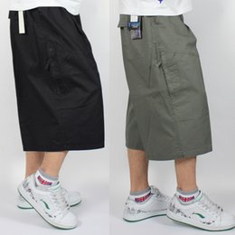 Wholesale Short Trousers - Plus Size Big Fat Mens Long Cargo Shorts Calf-Length Cotton Straight Pants Casual Summer Loose Cropped Trousers 4XL 5XL 6XL