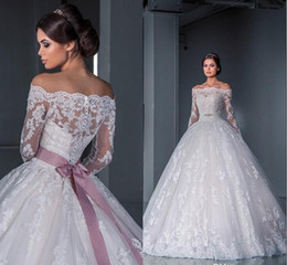 Wholesale Sweetheart White Ball Gowns - Luxurious Ball Gown Princess Lace Wedding Dresses 2016 New Off the Shoulder Long Sleeves Chapel Train Tulle Appliques Beads Bridal Gowns