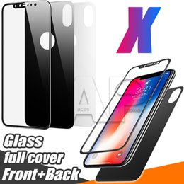Wholesale Iphone Body Protector - Full Body Cover Tempered Glass For Iphone X 10 8 Plus Screen Protector With Retail Package