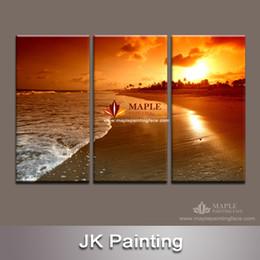 Paneles de paisaje marino online-Envío gratis Large 3 Panels seascape rays of the setting sol pintura de paisaje moderna para la decoración del hogar Impresión de la lona Fabricante