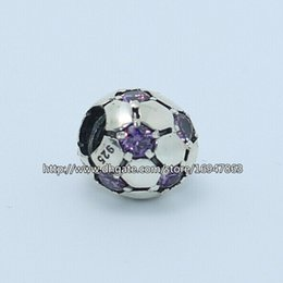 Wholesale Pandora Football Charm - 100% S925 Sterling Silver Purple Cz Football Charm Bead Fits European Pandora Jewelry Bracelets Necklaces & Pendant