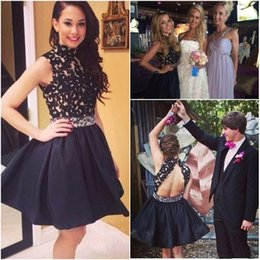 Wholesale Cut Out Homecoming Dresses - Lace Top Black Short Homecoming Dresses 2015 Cut Out Back High Neck Plus Size Prom Party Gown Sexy Club grade 8 graduation dresses