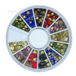 Wholesale Diamond Nail Stud - Wholesale- 1 Wheels Shinning Multicolour Glass Diamond Decorations Nail Art Rhinestones DIY Glitter Nail Studs Manicure Nail Supplies NA004