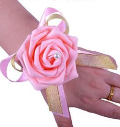 Bridesmaid Girl Wrist Corsage Silk Rose Flower Fatti a mano Forniture di nozze all'ingrosso Bellissimi fiori da sposa a buon mercato da