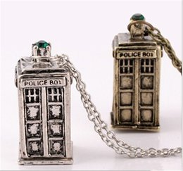 Wholesale Police Box Necklace - Fashion necklaces Doctor Who 3D Police Box Pendant necklaces & pendants Long Chain Silver Necklace Jewelry for Valentine's Gifts hot sale