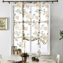 Wholesale White Window Panels - window treatments Floral roman short kitchen valance curtains purple tulle fabrics sheer panel modern curtains flower window treatment