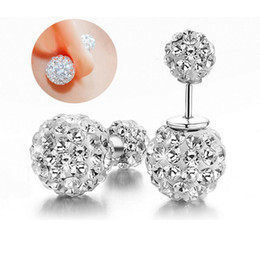 Wholesale 925 Silver Ball Earings - vintage Shamballa Earrings 925 sterling Silver Crystal Disco Ball fashion women stud earings