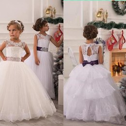 Wholesale Communion Dress Sash Belt - 2015 Cheap Arabic Real White Lace Flower Girls' Dresses Floor Length Ball Gown Sheer Neck Backless Girl's Pageant Dresses Tiered Bow belt