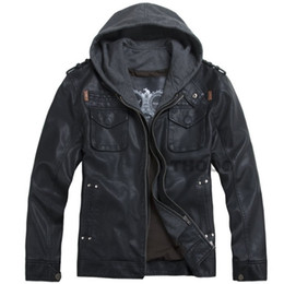 2019 короткая кожаная куртка с капюшоном Осень-2016 THOOO новый Оптовая короткие с капюшоном PU кожаная куртка черный мужская куртка пальто дешево короткая кожаная куртка с капюшоном