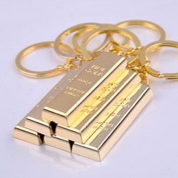 Wholesale 24k Pure Gold Pendant - Pure gold key chain golden keychains keyrings women handbag charms pendant metal key finder luxury man car key rings accessory