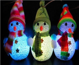 Wholesale Led Event Decorations - LED flash Snowman figurine Christmas Decorations pendants Christmas Tree Ornament bar party festive event props cartoon kids toy dolls gift
