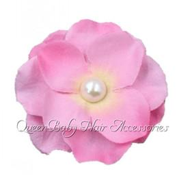 "Wholesale Hydrangea Hair Accessories - Baby Hair Accessory 2"" small MINI Hydrangea flower head with Pearl center flower Heads Elegant flower 50pcs lot"