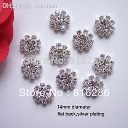 Wholesale Rhinestone Embellishments Loop - Wholesale-(J0019) 14mm rhinestone embellishment without loop rhinstone cluster,silver or gold plating,flat back