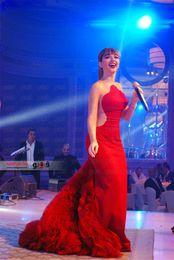 Wholesale Online Celebrities - 2016 Red Evening Dresses Celebrity dresses Sheer Neck Tiered Skirts See Through Back Long Prom Dresses Online Website