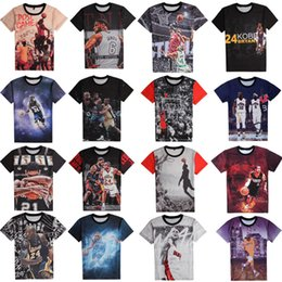Wholesale Red Shirts Game - Wholesale- newest 3d t shirt basketball stars LeBron James Duncan Anthony  Bryant USA all-star basketball sports game grapgic t-shirt