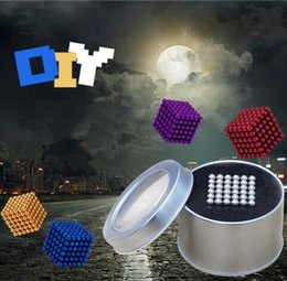 Wholesale Magnetic Ball 5mm - 16 Colors 5mm Size 216pcs Cube Magnetic Balls Magico Magnet Puzzle Decompression Toy Magnetic Bucky Cubes With Metal Box CCA8408 50pcs