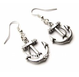 Wholesale anchor charm tibetan - Anchor Nautical Charms Drop Dangle Earrings 925 Silver Fish Ear Hook 50pairs Tibetan Silver Chandelier Earrings Jewelry Gift HOT N1501