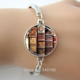 Wholesale Green Glass Bangles - Book Bangle, Librarian Jewelry, Library, Bibliophile, Book Lover, Bookworms bangles Glass cabochon dome picture bangles silver