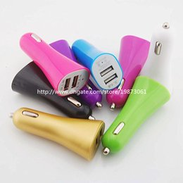 Wholesale Trumpet For Iphone - Double USB Trumpet 5V 3.1A USB Car Charger Power Charging Adapter For iPhone 6 5 5S Smartphone Mobile Phone Samsung 100 Pcs