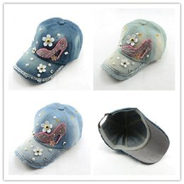 Wholesale Cadet Hats Wholesalers - Wholesale-Women baseball cap Basketball hat cadet Adjustable bling Cotton hat Fashion Sports snapback caps High-heeled shoes design WH023