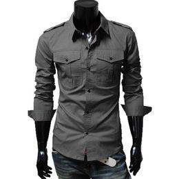 Wholesale Boys Double Collar Shirts - New arrival boys shirt Korean Slim men's fashion epaulette double pocket casual long-sleeved shirt tide male shiirts